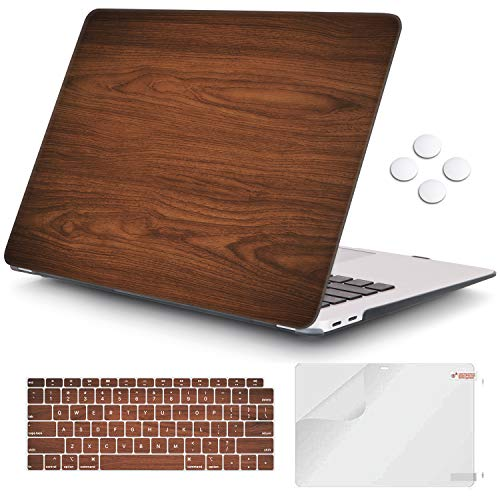 iCasso MacBook Air 13 inch Case 2020 2019 2018 Release A2337/A2179/A1932 with Touch ID Retina Display, Plastic Hard Shell Case and Keyboard Cover Only Compatible Newest MacBook Air 13'' - Brown Wood