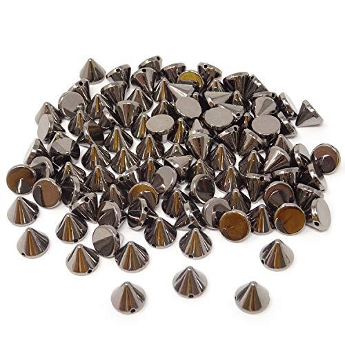 Honbay 100PCS Acrylic Punk Bullet Rivets Cone Spike Studs Beads, Sew on or Glue on (Gun Black)
