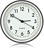 EEEKit Autocollant Rond d'horloge analogique de Quartz de Tableau de Bord de Voiture, Mini horloges Lumineuses de Quartz décoration Parfaite pour la Moto, Les Voitures, Le SUV et Le MPV