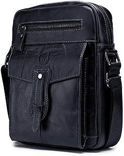 Bolso bandolera de cuero de capa superior de un solo hombro para hombre bolso de pecho multifuncional de moda para deporte...