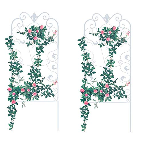 Garden Trellis for Climbing Plants, 2 Pack, 60x24' Rustproof White Iron Potted Vines Vegetables Flowers Metal Wire Lattices Grid Panels for Ivy Roses Cucumbers Clematis Pots Supports