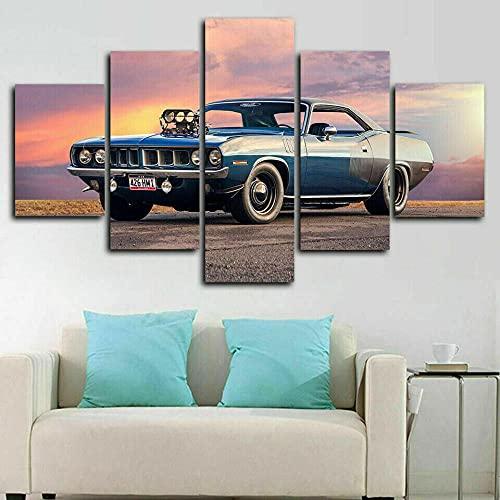 KJHKH Cuadros Modernos Impresión De Imagen Artística Digitalizada, 5 Piezas Lienzo Decorativo para Tu Salón O Dormitorio Coche del músculo Plymoutg Barracuda 5 Piezas