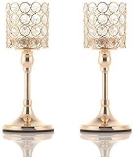 VINCIGANT Mother's Day 2 PCS Gold Crystal Cylinder Candle Holders for Anniversary Celebration Table Centerpieces,10 Inches Tall