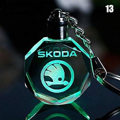 Furzon Car Logo Keychain Crystal Light Changing Car keyring Color LED Light Gift Box Renault