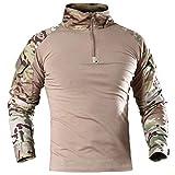 Hombres Militar táctico de manga larga camisa transpirable caza combate camisetas de secado rápido al aire libre Tops 1/4 cremallera frontal...