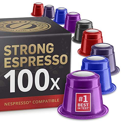 Starker Espresso Testbox: 100 Fairtrade Nespresso kompatible Kapseln. Testsieger.