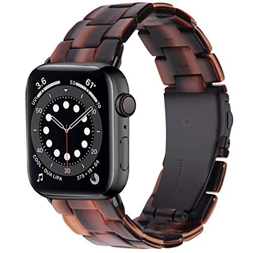 Miimall Correa de Resina Compatible con Apple Watch Series 6SE/5/4/3/2/1 40mm 38mm, Correa de Resina con Hebilla de Acero Inoxidable Pulsera de Repuesto para iWatch 40mm 38mm - Chocolate