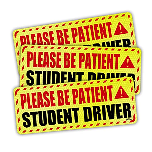 Student Driver Magnet for Car, Reflective Vehicle Bumper Magnet Safety Sign, Stronger Magnetic Bumper Sticker for New Driver - Pack of 3