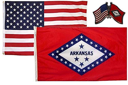 JumpingLight Wholesale Combo USA & State of Arkansas 3x5 3x5 Flag & Friendship Lapel Pin- Quality Flags
