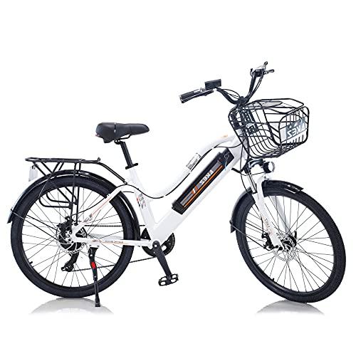TAOCI Vélo électrique pour femme adulte tout terrain 26 36 V 350 W Shimano 7 vitesses Batterie lithium-ion amovible pour le travail en plein air cyclisme voyage (blanc, 350)