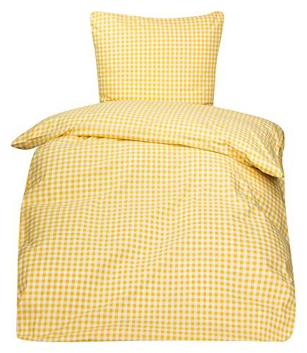 PremiumShop321 4tlg. Bettwäsche Züchen Landhaus Karo 95° koch und chlorecht Hotelverschluss (weiß/gelb, 135x200 / 80x80)