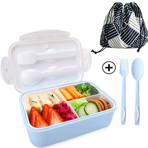 JiaHome 1400ml Bento Box con 3 Scomparti e Posate(Forchetta e Cucchiaio), Adatto a Microonde e Lavastoviglie (Blu + Borsa Porta Pranzo)