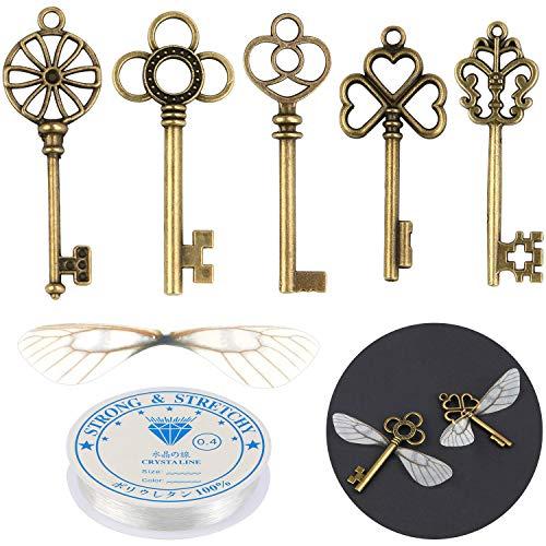 SANNIX Set of 50 Flying Keys DIY with Dragonfly Wing Charms DIY Wings and Vintage Skeleton Key, Elastic Crystal String