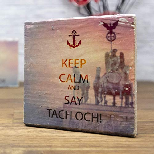 elbPLANKE - KEEP CALM and SAY TACH OCH! - Brandenburger Tor | 10x10 cm | Holzbild von Fotoart-Hamburg - 100% Handmade