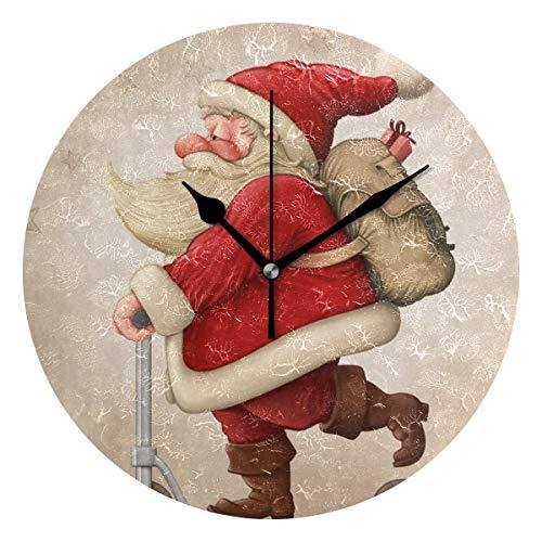 DEZIRO Kerstman En De Push Scooter Beste Alarm Klok Ronde Muur Klok hangstandaard Grote Klok
