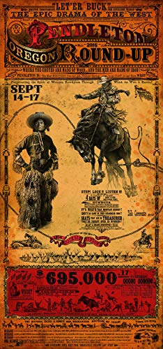 Home of Art Pendelton Oregon Round Up Rodeo Western Poster by Bob Coronato