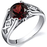 Peora Cathedral Design 1.50 carats Garnet Solitaire Ring in Sterling Silver Size 8