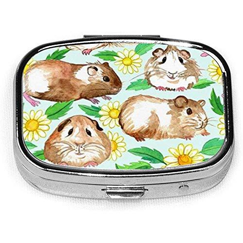 Uinea Pigs and Daisies Caja de pastillas cuadrada personalizada personalizada Caja decorativa Contenedor de vitaminas Bolsillo o billetera