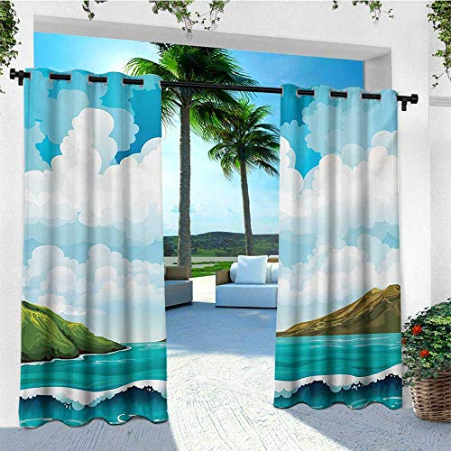 leinuoyi Sea, Porch Curtains Outdoor Waterproof, Seascape with Waves Islands and Cloudy Blue Sky Tranquil Exotic Shores Cartoon Style, for Patio Furniture W72 x L96 Inch Multicolor