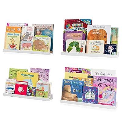 Wallniture Denver Floating Shelves for Wall, White Bookshelf for Kids' and Nursery Room Decor, 20 Inch Picture Ledge Shelf Set of 4