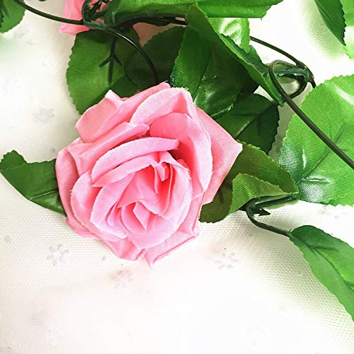 HANDYCRF 250CM/lot Silk Roses Ivy Vine with Green Leaves for Home Wedding Decoration Artificial Leaf DIY Hanging Garland Artificial Flowers - (Color: Dark Pink)