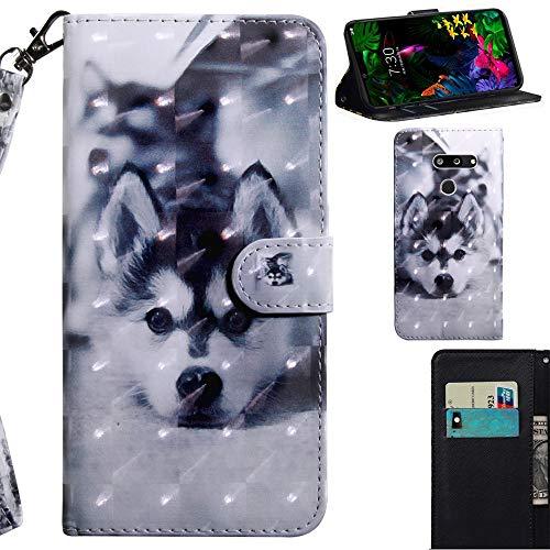 DodoBuy 3D Hülle für LG G8 ThinQ, Flip PU Leder Schutzhülle Handy Tasche Brieftasche Wallet Hülle Cover Ständer mit Kartenfächer Trageschlaufe Magnetverschluss - H&
