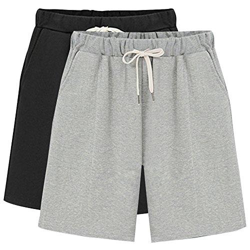 Gooket Women's Elastic Waist Soft Knit Jersey Bermuda Shorts with Drawstring 2 Pack Black+Grey Tag L-US 2
