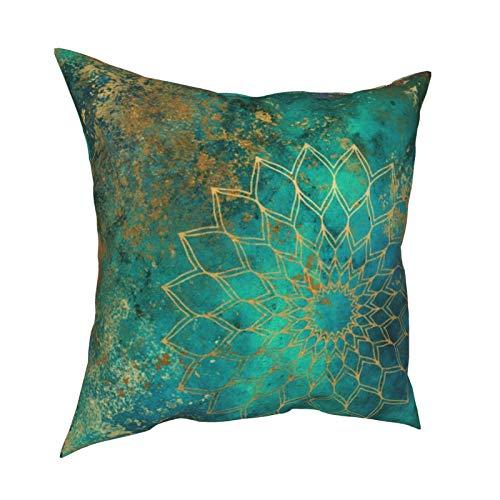Uliykon Fundas de cojín decorativas con diseño de mandala, diseño abstracto, color verde azulado, acuarela, dorado, con cremallera invisible, 45,7 x 45,7 cm