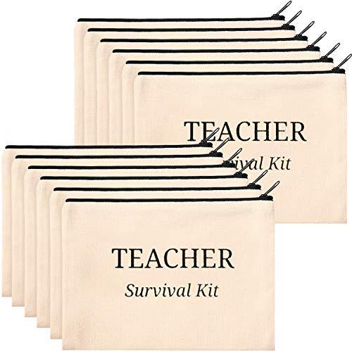 16 Pieces Teacher Makeup Bag Multipurpose Cosmetic Bag Teacher Pencil Case Bags Travel Toiletry Pouch Teacher Gift Canvas Bags with Zipper for Women Teacher (Survival Kit)