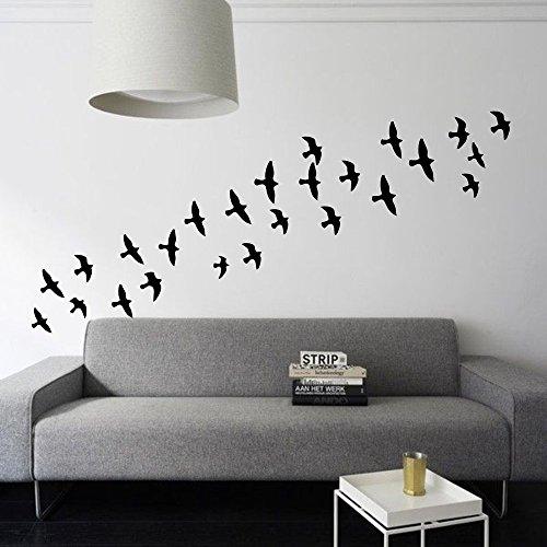 loQuenn Wall Art Sticker Vinile Famiglia Adesivo murale Citazione Lettering Soggiorno decori Sticker Flying Birds