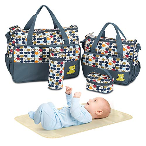 5PCS Diaper Bag Tote Set - Baby Bags for Mom (Gray)