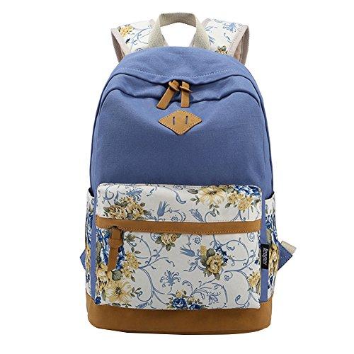 Moollyfox Filles Garçons adolescents Bleu Toile sac de randonnée de sac d'école Sac à dos multi-fonction - Voyages, scolaire, loisirs