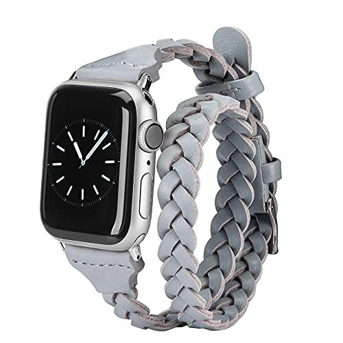 Correa de Cuero Doble Envoltura para Apple Watch Accesorios para Mujeres 38mm 40mm 42mm 44mm Correa de Reloj iWatch Series 5 4 3 2 1 (38mm 40mm,Gray)