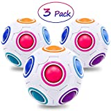 3 Pack Puzzle Toys Magic Ball Family Game Party Favor for Kids Adult Birthday Gifts Grown-Up Toys Brain Toys Relieves Stress and Anxiety ADD ADHD Fidget Games Round Rubik's 2.7' Brain Teasers