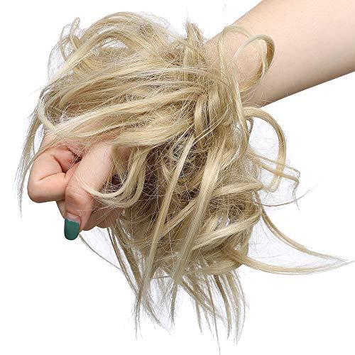 SEGO Haarteil Haargummi lockig Hochsteckfrisur Haarknoten Haarband Haar Extension natürlich 45G Aschblond & Bleichblond #24T613