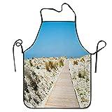 Sendero en la playa de Le Dune en el sur de la isla de Cerdeña Estilo italiano Horas tranquilas Delantal de barbacoa divertido Delantal de cocina Cocina creativa Parrilla Hornear Delantal de jardinerí