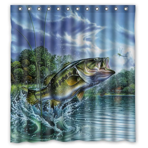 WWWVIOUY Home Decoration Bathroom Shower Curtain Large Mouth Bass Colorful Catfish Jumping Out of The Sea/Bass Fishing Waterproof Fabric Shower Curtain 66(w) x72(h) Inch