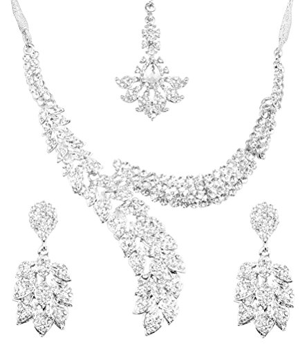 Touchstone Indian Bollywood Paisley Schal weißen Kristallen Schmuck Collier-Set für Damen Weiß