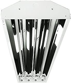 Four Bros Lighting 4-lamp F54HO T5 High Output High Bay Fluorescent Lighting Fixture - 54W HO 16,000 Lumens Bulbs Included - Universal Voltage 120-277V - DLC Premium & UL Listed - Commercial Grade