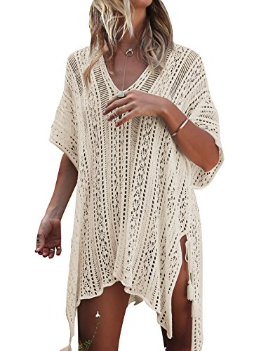 Jeasona Women Bathing Suit Cover Up Beach Bikini Swimsuit Swimwear Crochet Dress Beige M
