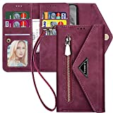 iPhone 8 Plus Wallet Case with Card Holder,iPhone 7 Plus Case for Women,Kudex 9 Card Holder Leather Folio Flip Zipper Clutch Purse Case with Money Pocket Kickstand Magnetic Closure Strap(Wine Red)