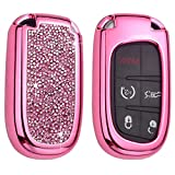 Royalfox 3d bling shiny rhinstone girly 3/4/5 buttons key fob case cover skin for Jeep Grand Cherokee Renegade,Fiat,Dodge Charger Challenger Dart Journey Durango,chrysler 200 300 (pink with silver)