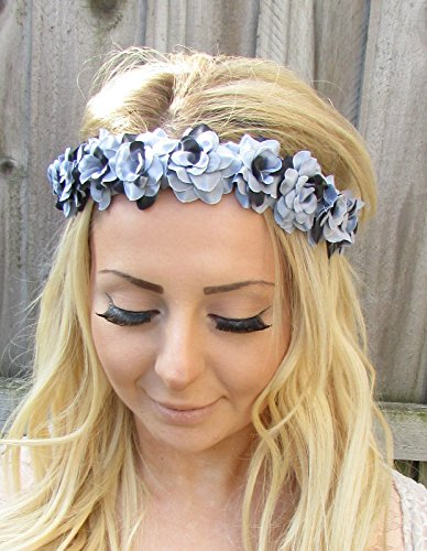 Grey Black Rose Flower Garland Headband Hair Crown Festival Pastel Goth 1864 *EXCLUSIVELY SOLD BY STARCROSSED BEAUTY*