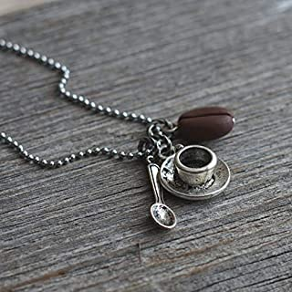 Coffee Necklace Cup of Coffee Cup Charm Coffee Cream Necklace Sugar Necklace Coffee Lover Spoon Necklace Personalized Initial Half and Half