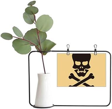 DIYthinker Halloween Skull Bones Metal Picture Frame Ceramic Vase Decor