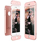 CE-Link Funda para Apple iPhone 7 Plus Rigida 360 Grados Integral, Carcasa iPhone 7 Plus Silicona Snap On Diseño Antigolpes Choque Absorción, iPhone 7+ Case Bumper 3 en 1 Estructura - Oro