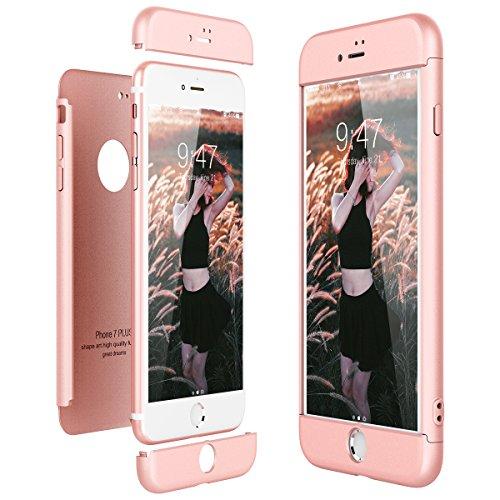 CE-Link Funda para Apple iPhone 7 Plus Rigida 360 Grados Integral, Carcasa iPhone 7 Plus Silicona Snap On Diseño Antigolpes Choque Absorción, iPhone 7+ Case Bumper 3 en 1 Estructura - Oro