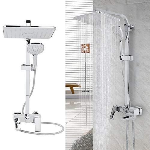 Cikonielf Regendusch-Set mit Duschkopf und Handbrause, Duschsäule aus Edelstahl mit Thermostatmischer