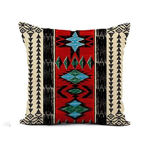 N\A Throw Pillow Cover Tribal Azteca Patrón geométrico Étnico Ornamental Nativo Americano Indio Funda de Almohada Decoración para el hogar Funda de Almohada de Lino de algodón Cuadrado Funda de cojín