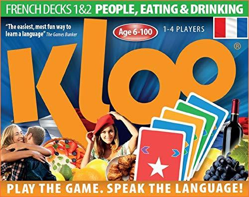 Jeux de cartes linguistiques de KLOO : Apprenez à parler français (depuis l'anglais) – Jeu 1 (Paquets 1 & 2)